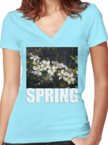 SPRING t Women's Fitted V-Neck T-Shirt