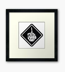 FUNNY SKULL middle finger Framed Print