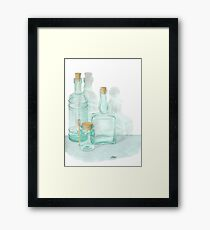THE GLASS OF GLASSWARE - PENCIL AND WATERCOLOR Framed Print