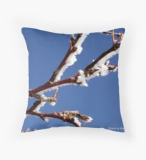 Hoarfrost on the apple tree Throw Pillow