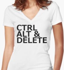 CTRL ALT DELETE Women's Fitted V-Neck T-Shirt