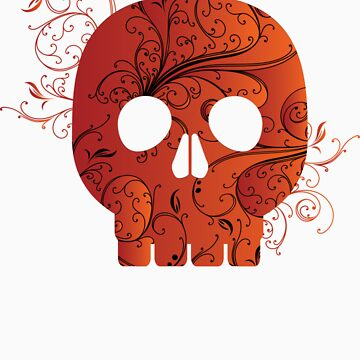 red floral skull by snowghost