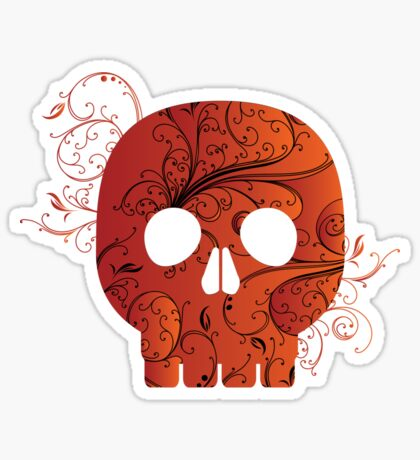 red floral skull Sticker