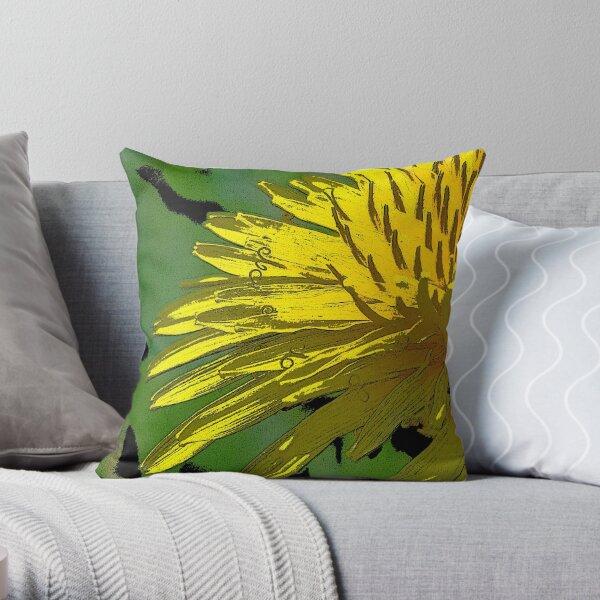 Posterized Dandelion Throw Pillow