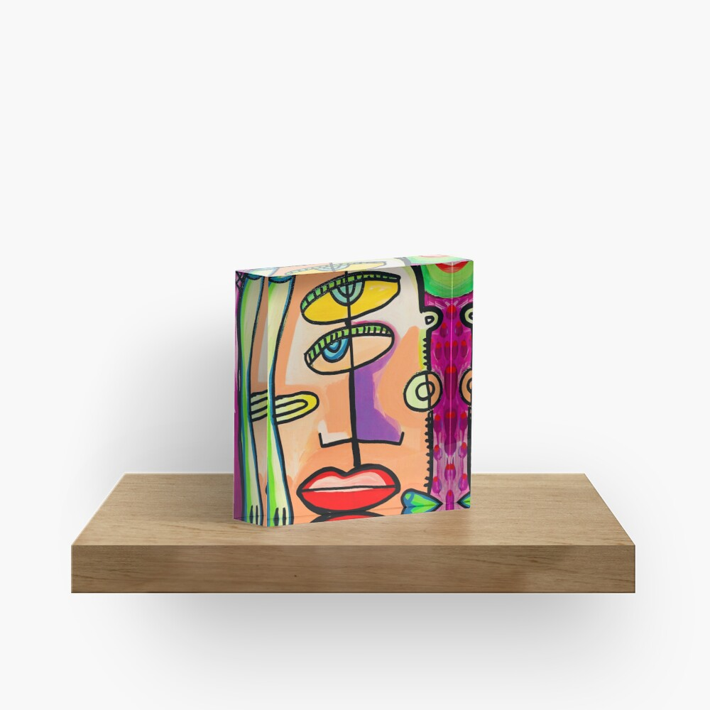 Too Close Abstract Art Painting by Jelene.com Acrylic Block