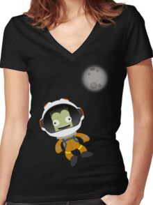 Mún or Bust! Kerbal Space Program Women's Fitted V-Neck T-Shirt