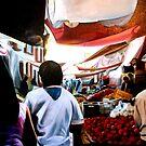 """""""El Mercado de Patzcuaro"""" - oil painting of a Mexican market by James  Knowles"""