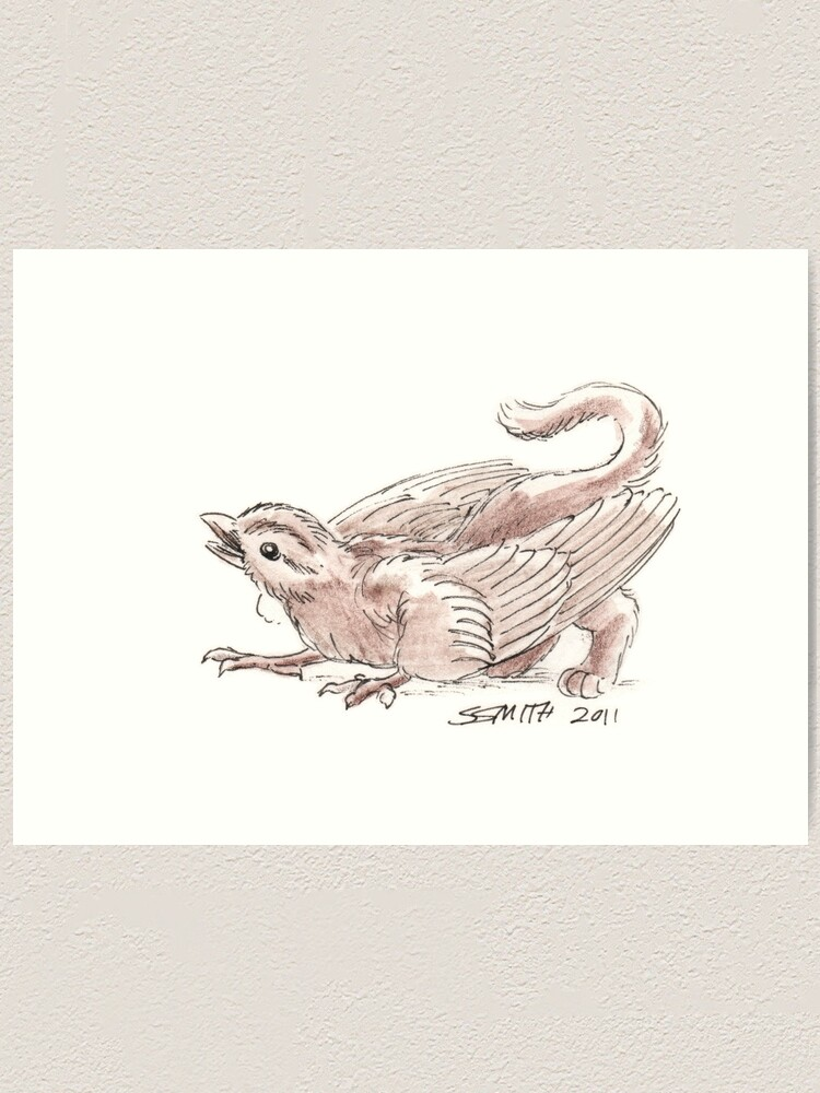 Alternate view of Sketch -- Mythological House Griffin, Sparrow variety Art Print