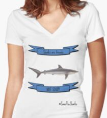 Save The Sharks Women's Fitted V-Neck T-Shirt