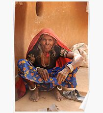 Old Indian Lady, village smallholding, Rajasthan Poster
