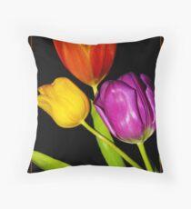 Tulips on Black Throw Pillow