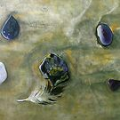 """""""Six Pebbles and a Feather"""" - oil painting of section of beach in Mexico by James  Knowles"""