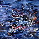 """""""Spawning"""" - oil painting of salmon spawning by James  Knowles"""