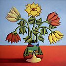 Flowers in softvase with landscape by Alan Kenny