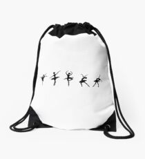 Ballet Evolution, Ballerina Dancer, Moves Artwork, Tshirts, Posters, Prints, Women, Men, Kids Drawstring Bag