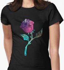Buntglas-Rosen-Galaxie Tailliertes T-Shirt für Frauen