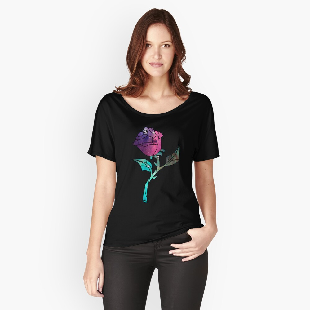 Stained Glass Rose Galaxy Relaxed Fit T-Shirt