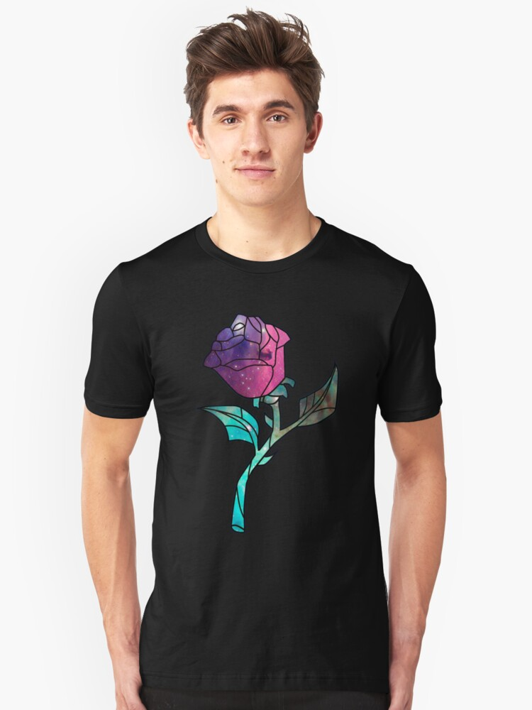 Stained Glass Rose Galaxy Unisex T-Shirt Front