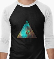 Green Galaxy Triangle Men's Baseball ¾ T-Shirt