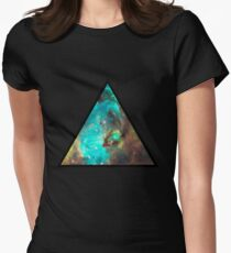 Green Galaxy Triangle Women's Fitted T-Shirt