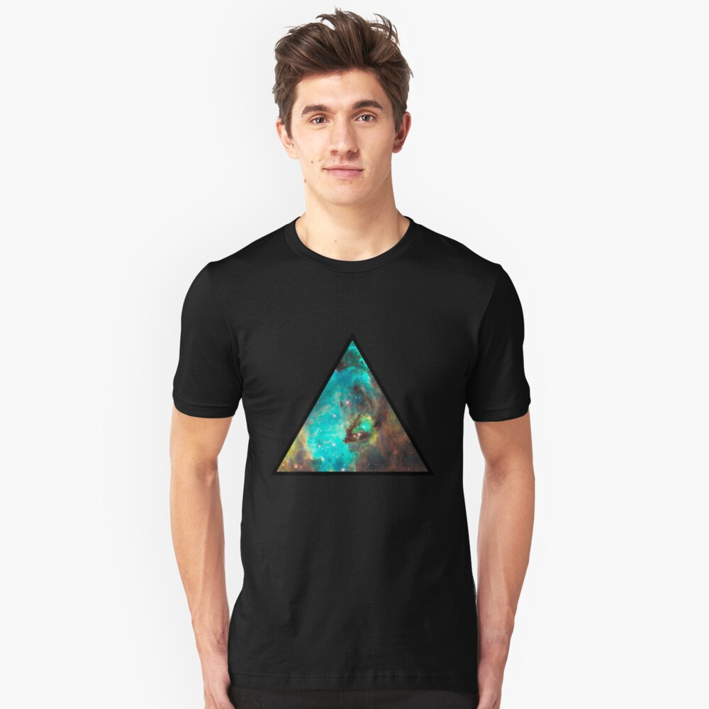 Green Galaxy Triangle Unisex T-Shirt Front
