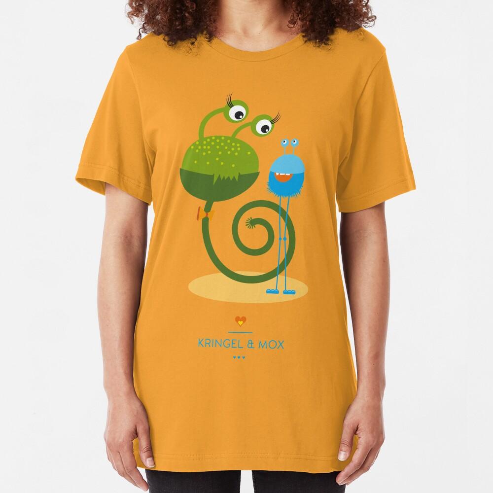 Illustration Kinderzimmer kleine Monster – Kringel und Mox Slim Fit T-Shirt