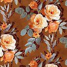 Retro Rose Chintz in Warm Orange on Rust Brown by micklyn