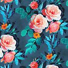 Retro Rose Chintz in Radiant Coral on Blue by micklyn