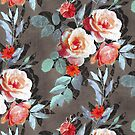 Retro Rose Chintz in Scarlet, Peach, Sage and Grey by micklyn