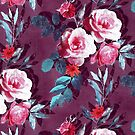 Retro Rose Chintz in Magenta and Plum by micklyn