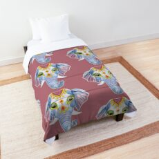 Cute Decorated Watercolor Elephant Comforter