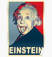Albert Einstein Portrait pulling tongue Campaign Design  Poster