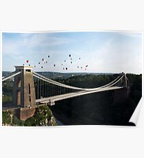 Balloons over the Clifton Suspension Bridge, Bristol Poster