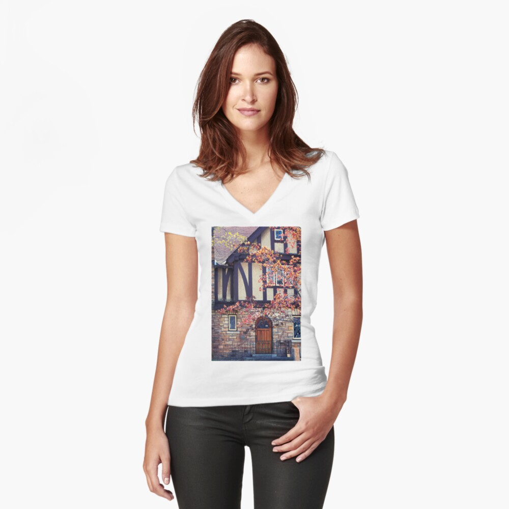 Tudor Style Women's Fitted V-Neck T-Shirt Front