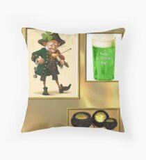 Green Beer & Gold Throw Pillow