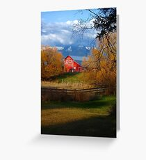 Red Barn and the Willows Greeting Card