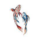 Watercolor and Ink Koi Fish, Two friends by Magdalena Żołnierowicz