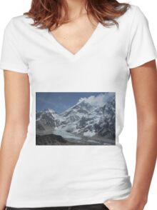 Mount Everest from Kala Patar Women's Fitted V-Neck T-Shirt