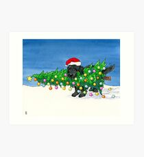 The Christmas Newfie Art Print