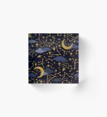 Celestial Stars and Moons in Gold and Dark Blue Acrylic Block