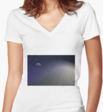 Sail Away Moon Women's Fitted V-Neck T-Shirt