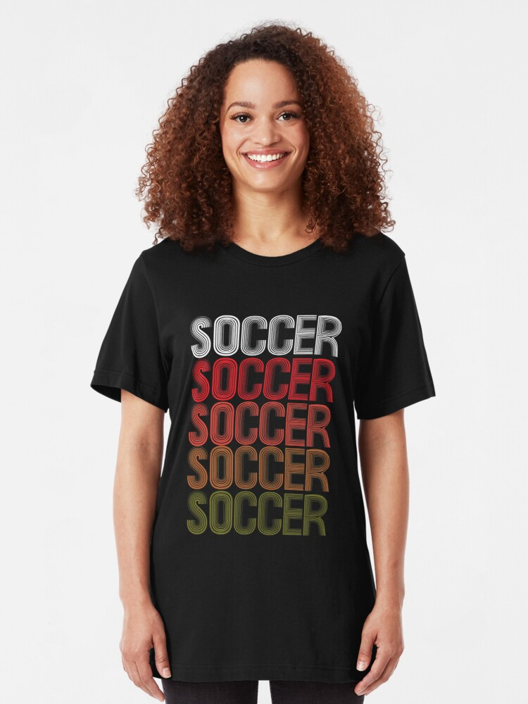 Alternate view of Cool Retro USA Soccer Design Slim Fit T-Shirt