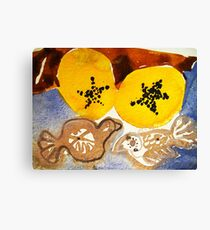 paw paw and clay birds Canvas Print