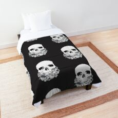 Skull with Flowers  Comforter