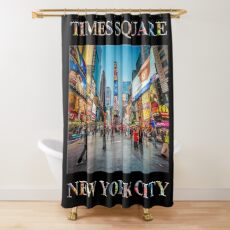 Times Square Sparkle (poster on black) Shower Curtain