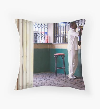 beer and cricket whites Throw Pillow