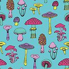 Workout Mushrooms - fun fungus pattern by Cecca Designs by Cecca-Designs