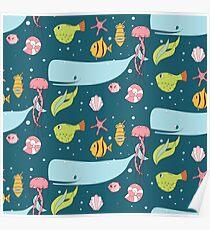 Seamless pattern with underwater scene Poster