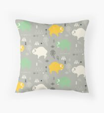 Seamless pattern with cute baby buffaloes and native American symbols Throw Pillow