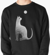 Ghost Cat and Moon in black and white Pullover